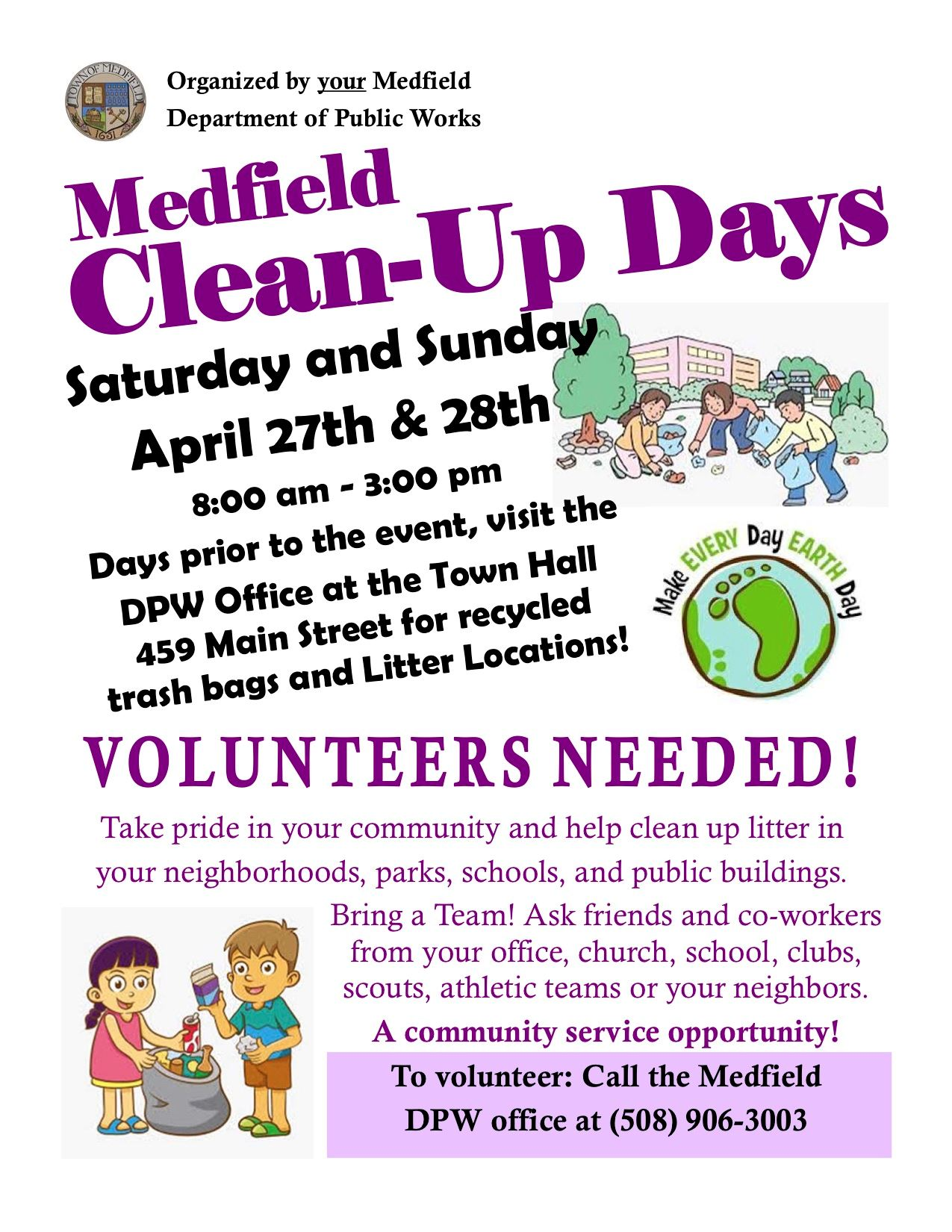 Medfield Clean Up Day Flyer 2019